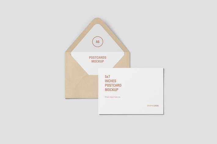 Thumbnail for Horizontal Postcard and Envelope Mockup Top View