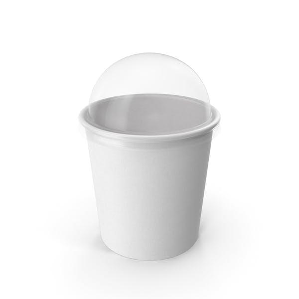 Taza de papel con tapa transparente para postre, 450 ml