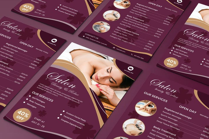 Thumbnail for Beauty Salon zweiseitige Preisliste Flyer Vorlage