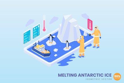 Isometrisches schmelzendes antarktisches Eiskonzept