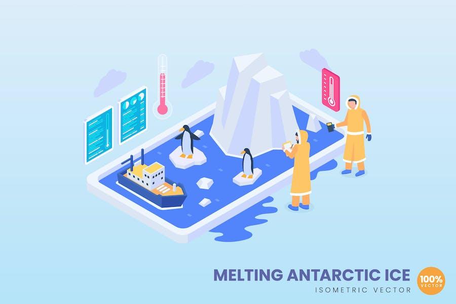 Isometric Melting Antarctic Ice Concept