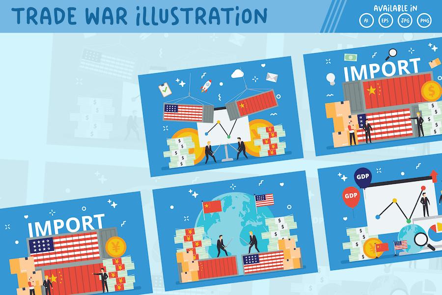 Trade War US and China tiny people illustration