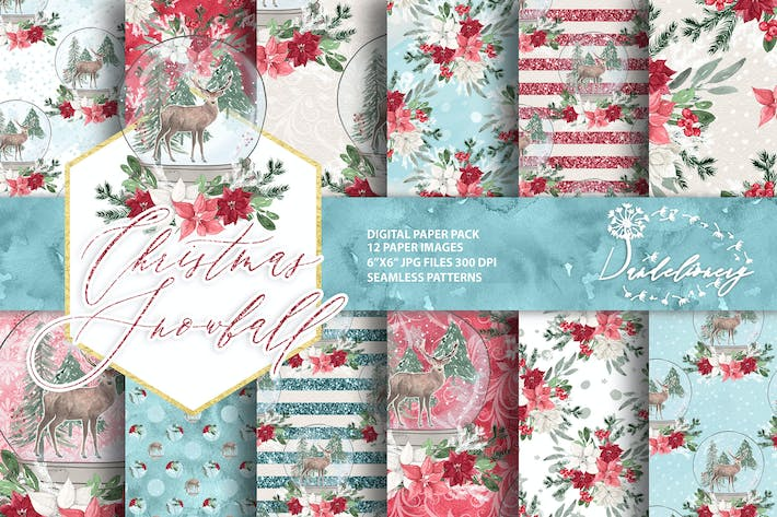 Thumbnail for Christmas Snowball digital paper pack