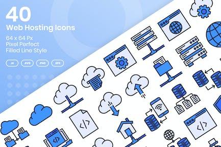 40 Web Hosting Icons Set - Filled Line