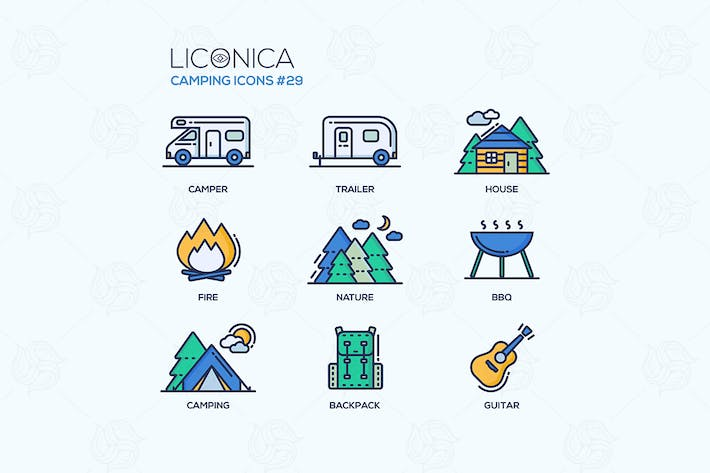 Camping Time - moderne Vektor flache Icon Set.