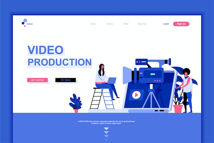 Thumbnail for Video Production Flat Landing Page Template
