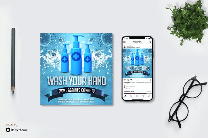 Thumbnail for Wash Your Hand Campaign - Flyer & Instagram MR