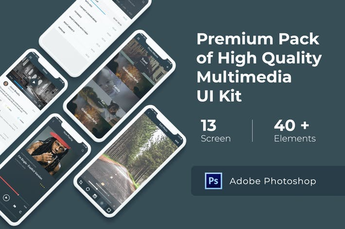 Thumbnail for Multimedia and Entertaintment UI KIT for Photoshop