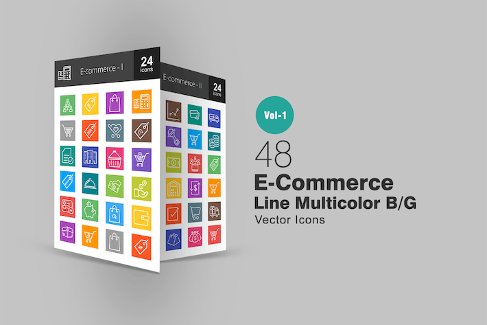 Thumbnail for 48 Ecommerce Line Multicolor Icons