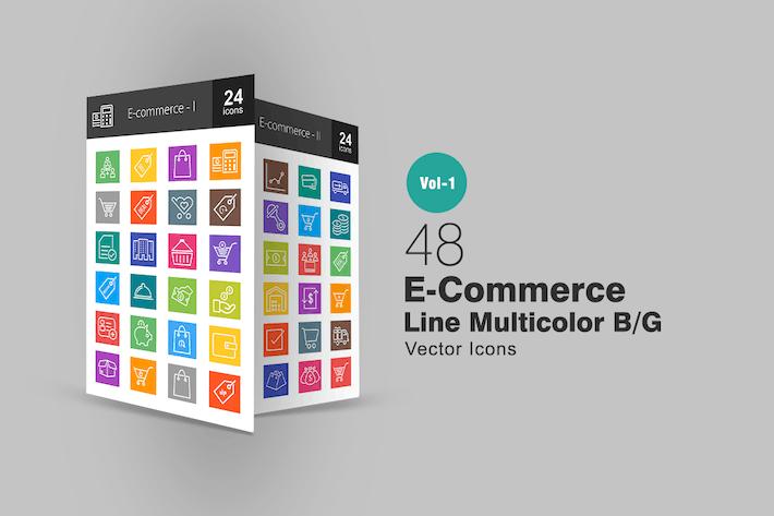 Thumbnail for 48 Icones multicolores de ligne de commerce électronique