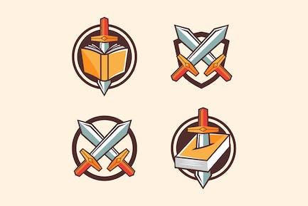 Game item Sword and Book symbol cartoon style