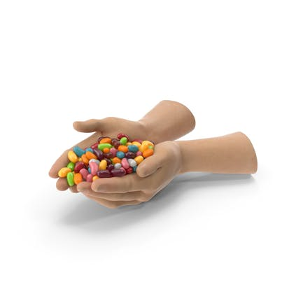 Two Hands Handful With Jelly Beans