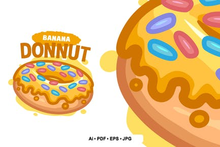Banana Donuts Cartoon logo