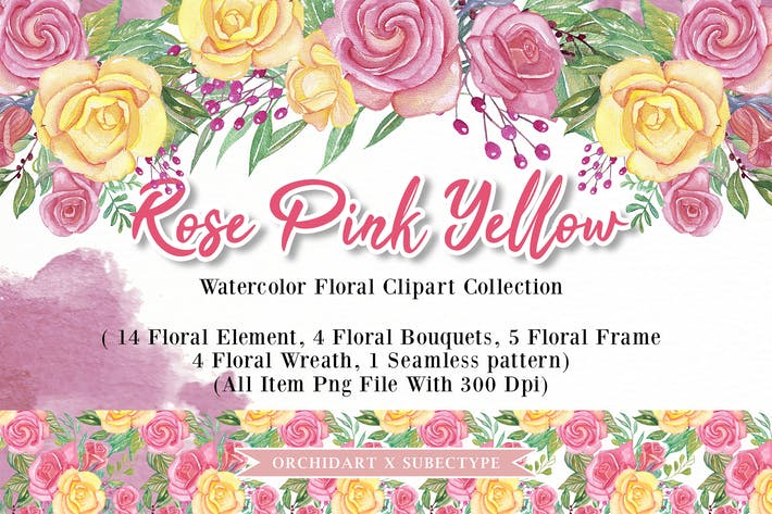 Thumbnail for Rose Pink Yellow Watercolor