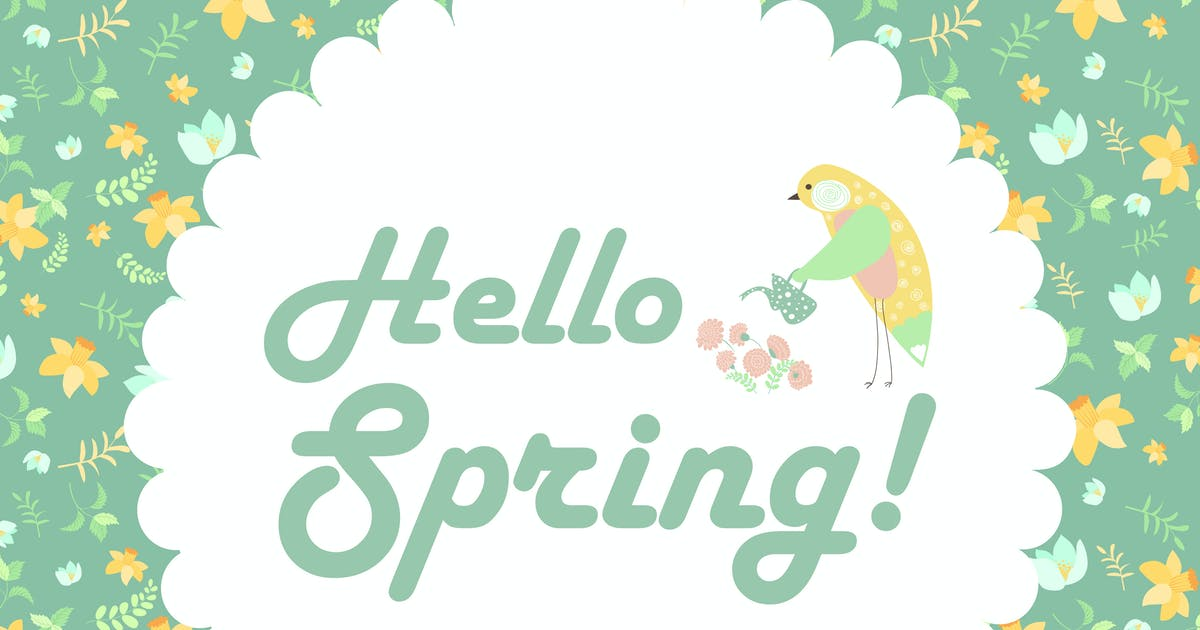 Download Vector illustration of a bird and spring flowers by masastarus