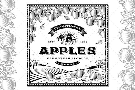 Vintage Apples Label Black And White