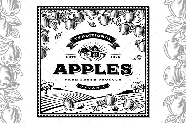 Thumbnail for Vintage Apples Label Black And White