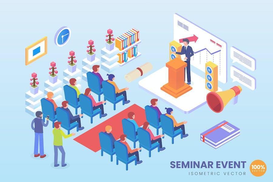 Isometric Event Seminar Vector Concept