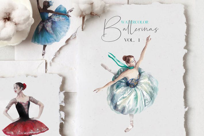 Thumbnail for Ballerinas watercolor set - vol.1