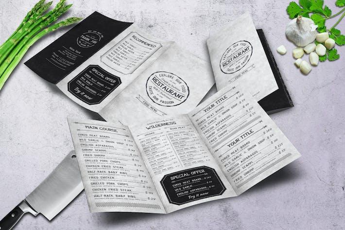Thumbnail for Vintage A4 Trifold Food Menu