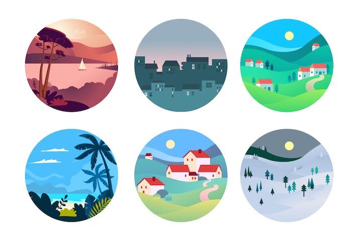Concepts Flat Design de Voyage et Tourisme