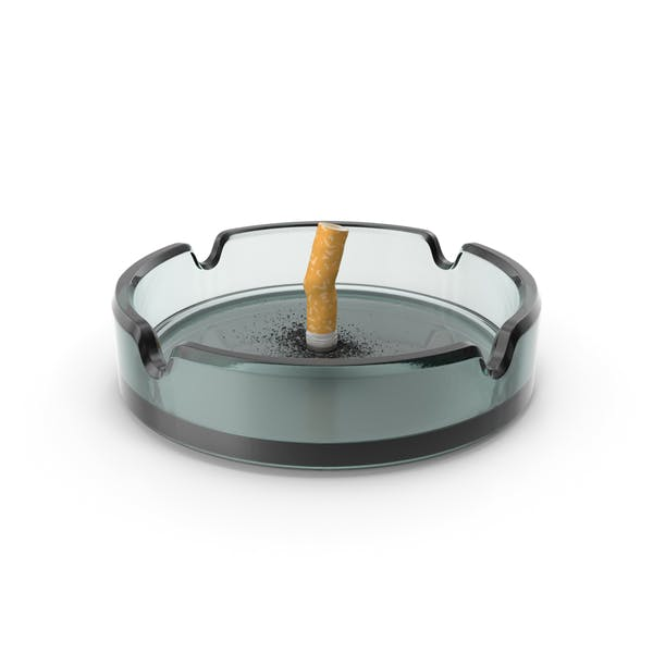 Put out cigarette in Glass Ashtray