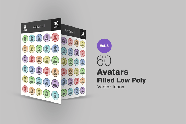 Thumbnail for 60 Avatars Filled Low Poly Icons