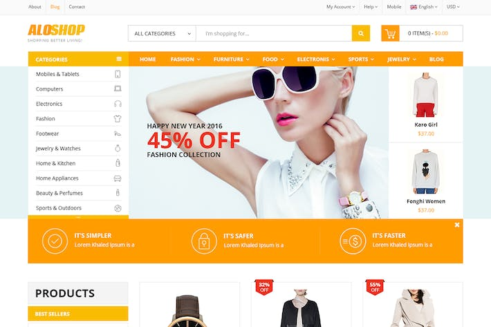 Thumbnail for Aloshop eCommerce PSD Template