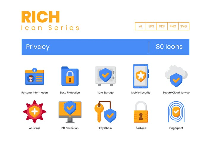 80 Privacy Icons - Rich Series