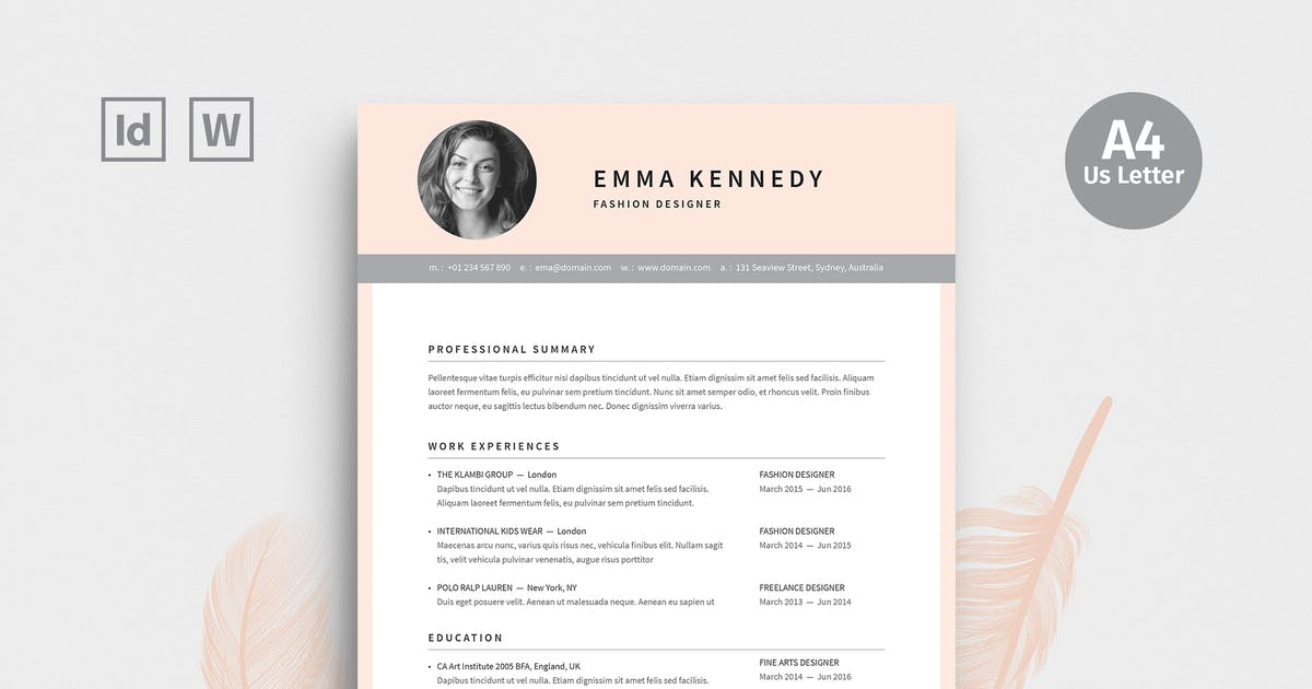 Fashion Designer Resume By Boxkayu On Envato Elements