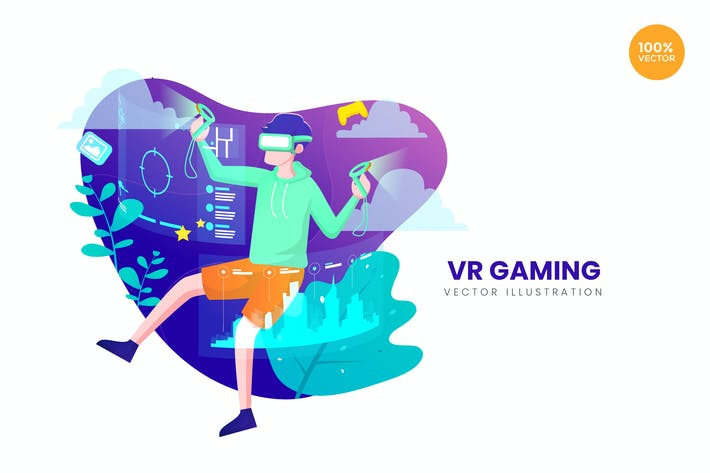 Thumbnail for Virtual Reality Gaming Vector Illustration Concept