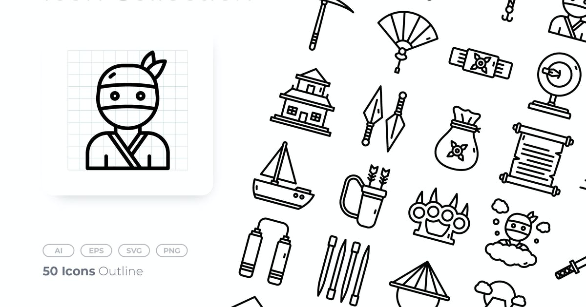 Download Ninja Outline Icon by GoodWare_Std