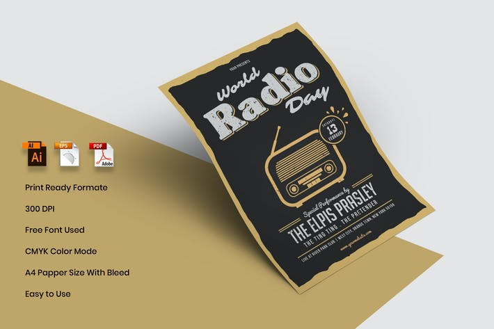 Thumbnail for World Radio Day Flyer Template