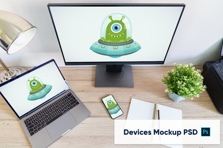 Thumbnail for Laptop, phone and external monitor - workplace PSD