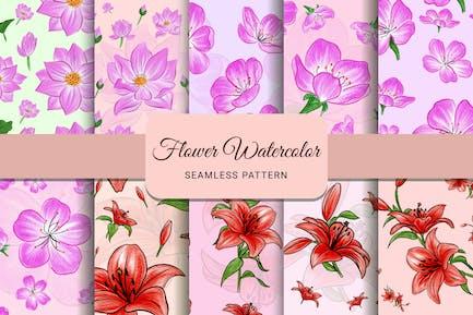 Blumen-Aquarell-nahtloses Muster