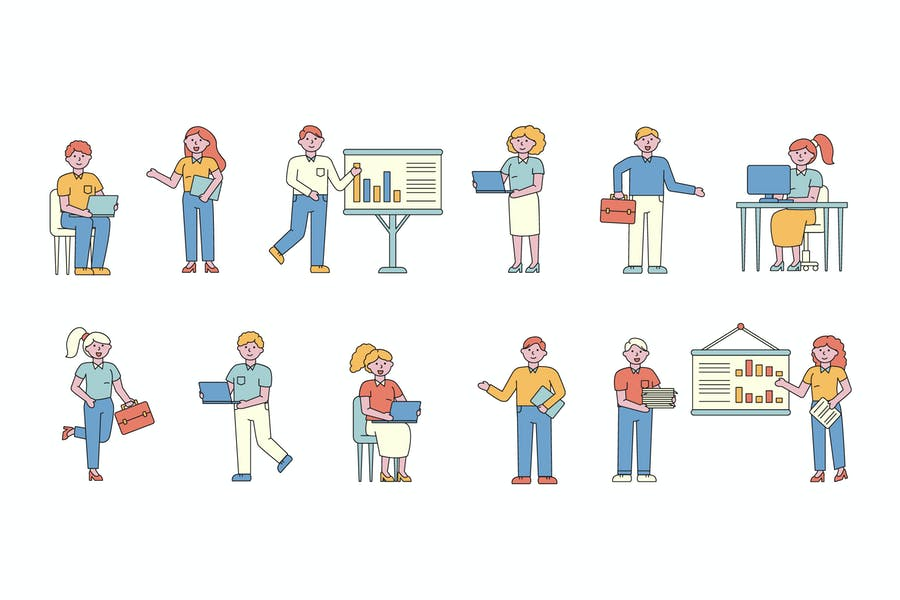 Business Lineart People Character Collection