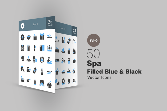 Thumbnail for 50 Spa Blue & Black Icons
