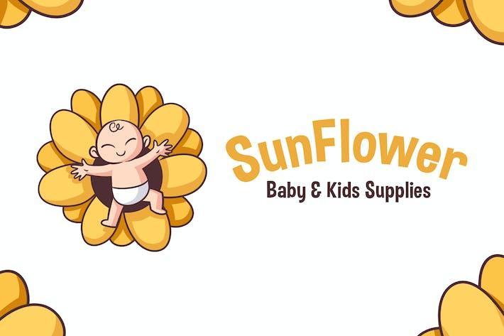 Thumbnail for Cartoon Sun Flower Baby Mascot Logo