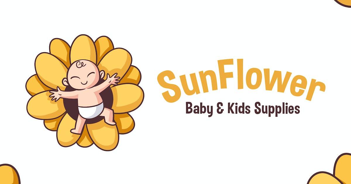 Download Cartoon Sun Flower Baby Mascot Logo by Suhandi