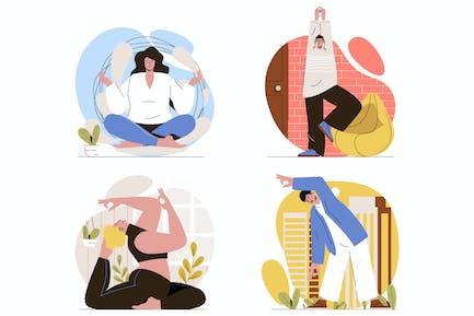 Juego de Ilustraciones de línea plana Yoga