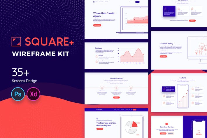 Thumbnail for Square+ Web Wireframe Kit