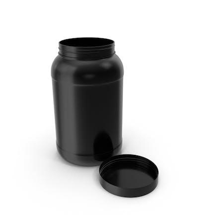 Botella de plástico de boca ancha galón negro abierto