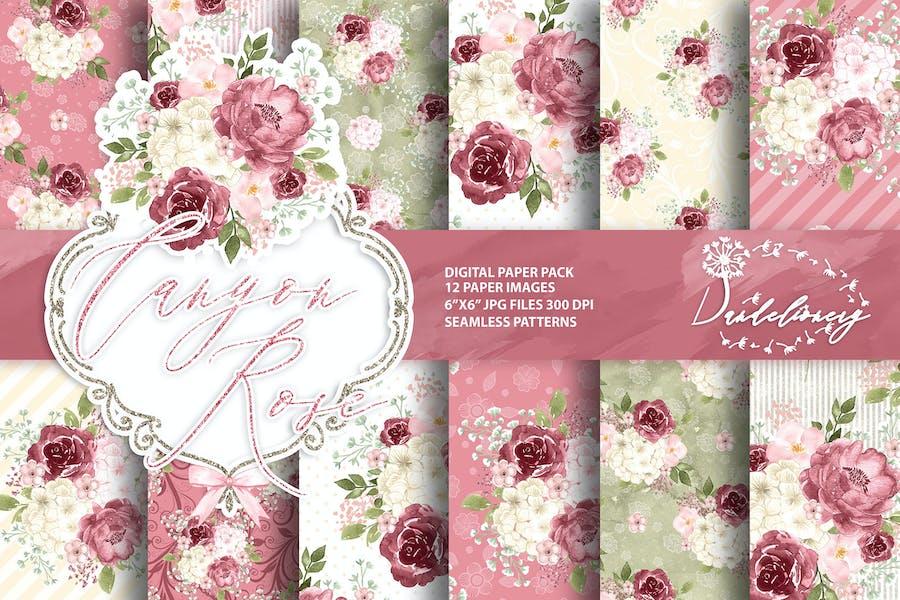 Watercolor Canyon Rose digital paper pack