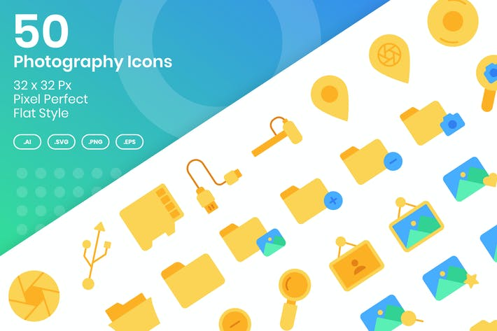 Thumbnail for 50 Photography Icons Set Vol 1 - Flat