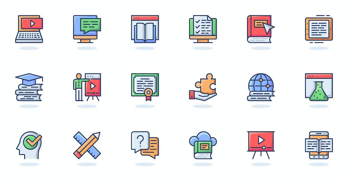 Download Online Education Flat Line Web Icons Set by alexdndz