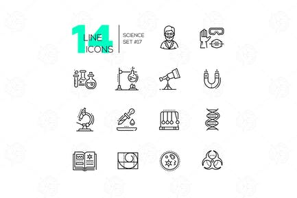 Science - modern single line icons set