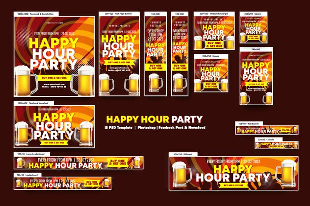 Happy Hour Party Banners Ad
