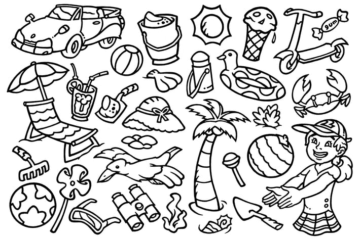 Thumbnail for 30 Summer Beach Vacation - Doodles Clipart