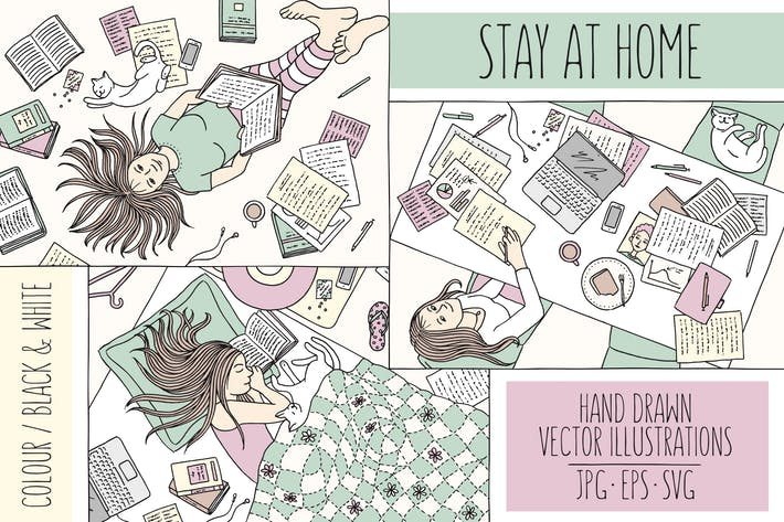 Thumbnail for Stay At Home - Hand Drawn Vector Illustrations