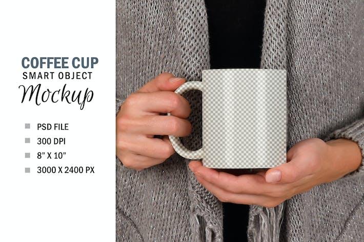 Thumbnail for Woman Holding Coffee Cup Mug Smart Object Mockup